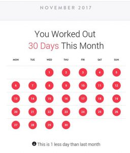 November progress report, noting that I worked out one fewer day compared to October